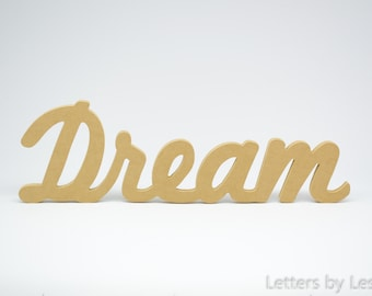 Dream sign, Wooden letters, Wood sign, Wood letters, DIY, Unpainted, Inspirational words, Wall hanging, Crafts