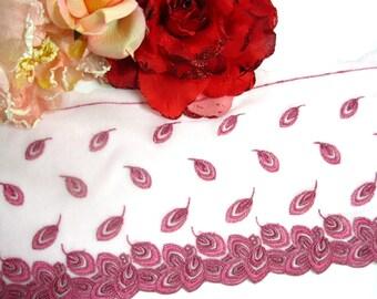 "DN222 - 6"" Rosa gesticktem Federn Lace Trim von Yard"