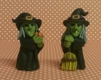 Hand Sculpted Halloween Miniature Witch Figures in Polymer Clay Set of 2