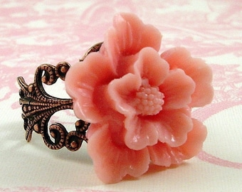 Cherry Blossom In Light Pink Antique Copper Adjustable Statement Ring