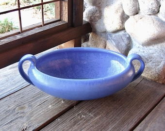 Large Fulper Pottery Console Bowl or Dish, Chinese Blue Matte and Crystalline Glaze, Vintage 1930s, Arts & Crafts, Craftsman, Mission Style