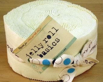 Moda Bella Solids Snow Jelly Roll - (42) 2.5 inch strips  9900JR 11