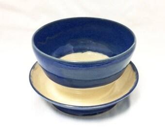 Bright Blue, Blue, Cream, White Succulent Pot, Succulent Planter, Flower Pot, Flower Planter, Ceramic Pot, Ceramic Planter, Indoor Outdoor