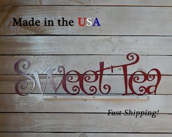 Sweet Tea, Kitchen Decor, Cooking Decor, Restaurant Decor, Indoor/Outdoor Wall Art, House Decor, Metal Sign, Home Signs, Tea Pot, W1045
