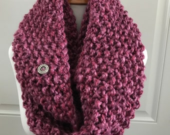 Pink Knit Infinity Scarf, Chunky Knit Scarf, Carlyle Knit Scarf, Hand Knit Scarf, Strawberry Pink Scarf, Chunky Scarf, Knit Neck Warmer