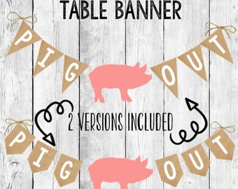 Farm Party PIG OUT Banner Printable/ Barnyard Animal Birthday Bunting/ Event Decor/ Food Table Hanging Sign/ Instant Digital Download