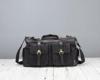 Personalised waxed canvas and leather overnight bag in black
