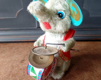 Vintage Elephant Wind Up Toy, Musical, Drums, Cymbal, Collectible, Plush