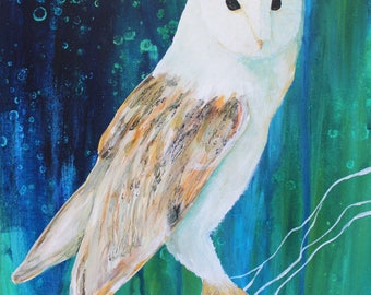 Barn Owl Painting, Barn Owl Art, Barn Owl Print, Barn Owl, Owl Painting, Owl Art, Owl Print, Owl Decor, Bird of Prey, WildLife Artwork, Owls