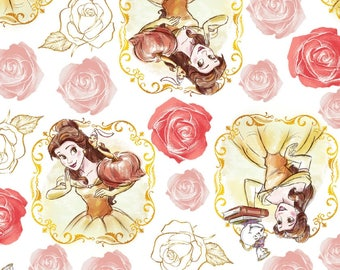 Beauty & The Beast Belle Framed Cotton Fabric by the yard and by the half yard