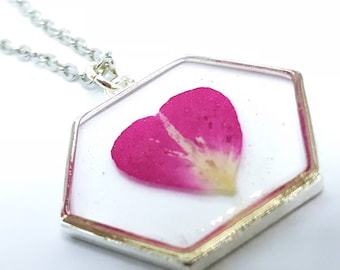 Pressed Flower Necklace in Silver Bezel, Real Flower Jewelry, Pressed Flower Jewelry by Kyleemae Designs