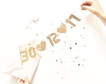 Bannière de paillettes Mini personnalisée - Save The Date bannière - Rose Gold carte Invitation mariage guirlande, fiançailles Photo Prop, bannière de chaise haute,