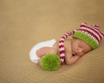 Christmas Baby Hat - Baby Elf Hat - Christmas Photo Prop - Newborn Stocking Hat - Long Tail Hat - Baby's 1st Christmas - Striped Newborn Hat