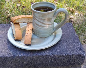 Coffee Cup. Coffee Mug. Small. Green. Beautiful handmade pottery cup. Unique, no two are exactly the same.