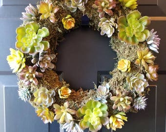 17' Faux succulent wreath/ door wreath/summer wreath/spring wreath/succulent wreath / door decor / decor