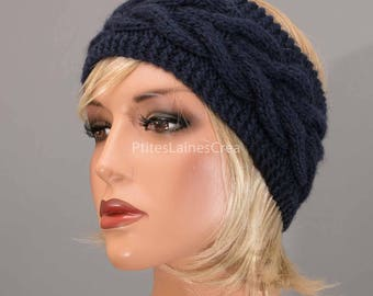 Hand knitted headband, ear-warmer, headband, woman wool