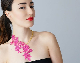 Pink Necklace Lace Necklace Statement Necklace Floral Necklace Women Accessory Gift For Her/ LASATA