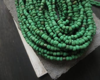 Small opaque green seed beads, fresh green glass beads, organic barrel tube spacer Indonesia   1.5  to 4  mm /  44 inches  strand  - 5bgl2-2