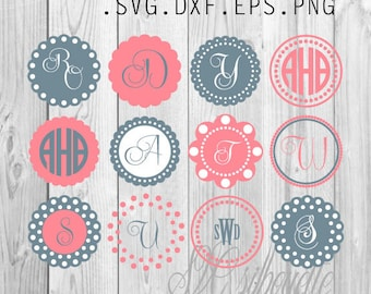 Circle monogram frames SVG cutting file, Clipart, Vector, Pattern Vinyl design, Pattern, png, svg,  eps, dxf files for Silhouette, Cricut