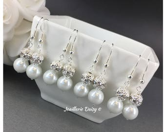 Bridesmaid Gift Bridesmaid Earrings Dangle Earrings Rhinestones Earrings Pearl Earrings Gift on a Budget Maid of Honor Gift Wedding Jewelry