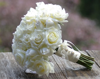 Off White Ivory Real Touch 31 Rose Bud Wedding Bouquet Simplicity