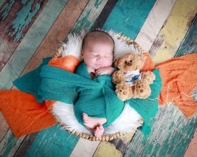 Miami Dolphin Photographer WRAP Set for Boys - Orange or Teal Swaddle Wrap-  sports, football, bebe photo, Lil Miss Sweet Pea  11/21