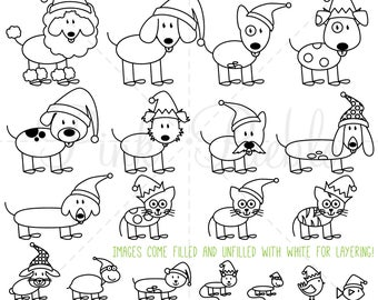 Christmas Stick Figure Pets Clipart Clip Art Vectors, Christmas Stick Family Animals Clip Art Clipart Vectors - Commercial and Personal Use