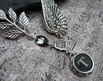 Typewriter Jewelry Letter T With Wings and Swarovski