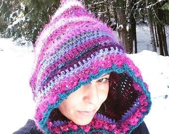 Hood Warm Wool Handcrocheted Winter Hat Hoodie Rave Hood