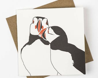 Anniversary card - Letterpress Christmas Cards - love card - Wedding card - puffin love - Animal love - love birds - Valentines card