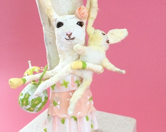 Spun Cotton, Easter Rabbit with Baby and Flowers, Spring Decoration