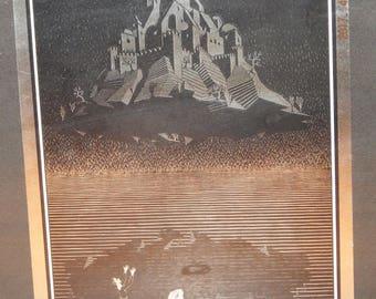 M.C. Escher (Dutch, 1898–1972) Title: Castle in the Air, 1928 ,  Woodcut
