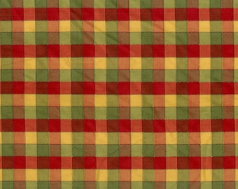Reversible Woven Silk Check Fabric by the Yard - Christmas Silk in Red, Green and Gold