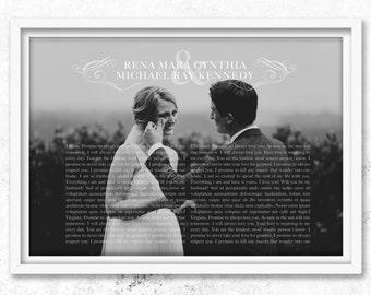 1st anniversary gift, vows, Wedding vows, 1st wedding anniversary, 1st anniversary for husband, paper anniversary gift for him, wedding art