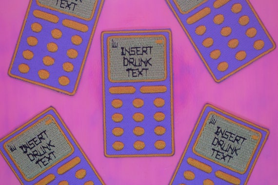 Pink Drunk Text Mobile Iron on Patch