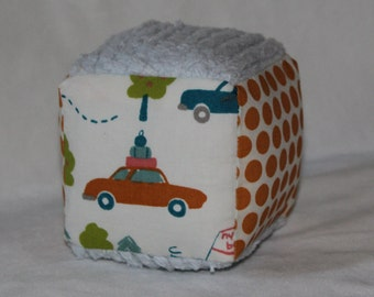 New!  Small Organic Cross Country and Dots Fabric Block Rattle Toy