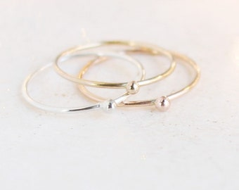 three minimalist stacking rings. SILVER, GOLD or ROSE gold filled. tiny ball droplet. sterling silver. 14k gold filled stacking ring. dainty