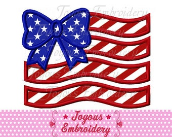 Instant Download 4th of July Bow Flag  Applique Embroidery Design NO:2473
