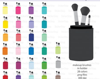 Makeup Brushes in Cup Icon Digital Clipart in Rainbow Colors - Instant download PNG files