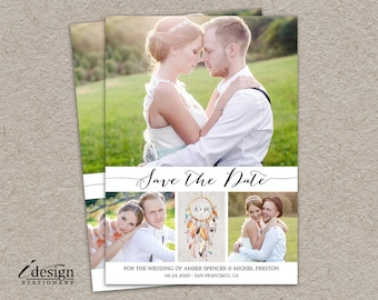 Boho Save The Date Postcard With Dreamcatcher | Double Sided Diy Printable Calligraphy Bohemian Wedding Photo Calendar Save The Dates