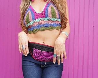 Purple Boho Cotton Thai Textile Ethnic Fanny Pack Money Belt