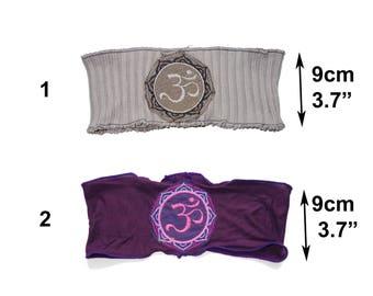 Purple or gray ohm auhm, aum chakra headband