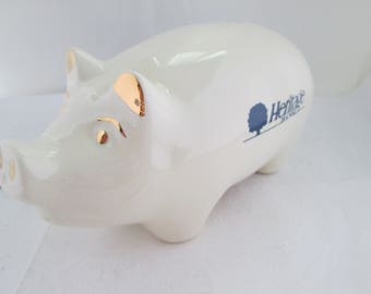 Vintage Heritage Bank Creamy White Pottery Piggy Bank Promotional Pig Bank Collectible Pig Advertising Pig Bank giveaway Bank promo pig