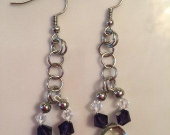Green Amethyst Briolette Gemstone, Swarovski Crystals Earrings
