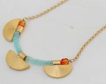 aquamarine beaded long necklace / 3 semicircular gold necklace / long necklace for woman / aquamarine necklace for woman / march birth stone