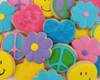 FREE SHIPPING* Groovy Sugar Cookies | 60s Party Favor | 70s Party Favor | Retro Party | Peace Sign | Peace & Love | Flower Power Cookies