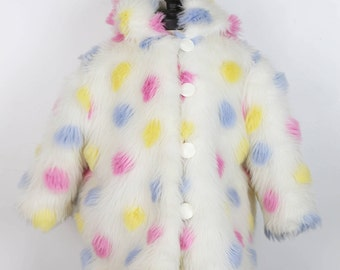90s ERIKA ERIKSSON CHILD faux fur hooded jacket