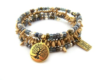 Blue and Gold Bohemian Set of 3 Stacking Bracelets - Beaded Boho Bangle Bracelet Set - Tree of Life  - Gift for Her
