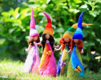 Rainbow elfs, waldorf inspired, needle felted, wool felt, sculpture, home decor, gift idea