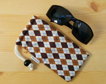 Glasses case,sunglasses case,brown case,rhombus case,quilted glasses case,sunglasses cover,glasses bag,glasses soft case,hipster case